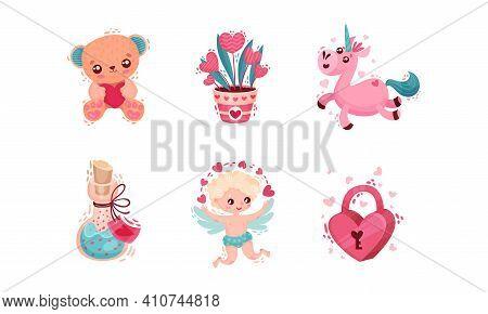 Saint Valentine Day Festive Attributes And Symbols With Cherub Unicorn Vector Set