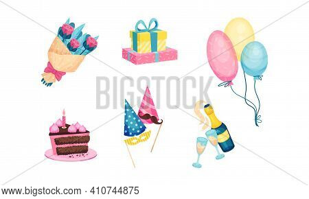 Birthday Party Attributes And Symbols With Bunch Of Flowers, Wrapped Gift Box, Balloon And Cake With