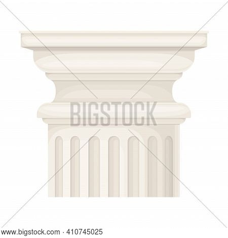 Antique Stone Column Or Pillar Element With Capital In Doric Style And Ancient Ornament Vector Illus