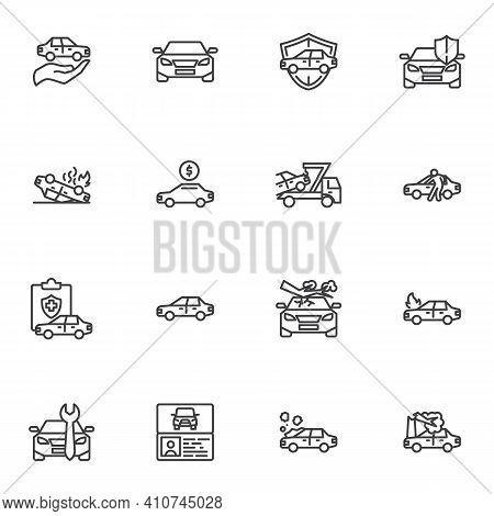 Auto Insurance Line Icons Set, Car Insurance Outline Vector Symbol Collection, Linear Style Pictogra