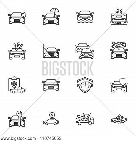 Car Accident Line Icons Set, Auto Insurance Outline Vector Symbol Collection, Linear Style Pictogram