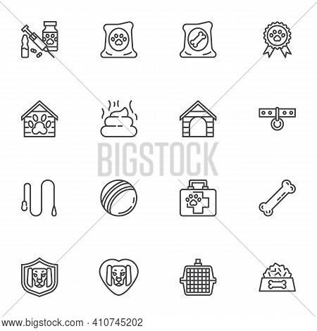 Pet Shop Line Icons Set, Outline Vector Symbol Collection, Linear Style Pictogram Pack. Signs, Logo