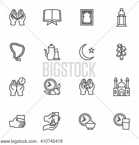 Ramadan Kareem Holiday Vector Icons Set, Modern Solid Symbol Collection, Filled Style Pictogram Pack