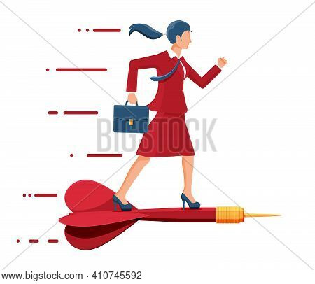 Businesswoman On Dart Aim Arrow To Target. Goal Setting Smart Goal. Business Woman In Suit With Brie