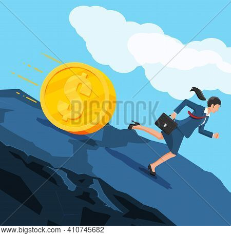 Businesswoman Running Away From Big Debt Golden Coin Weight. Business Woman With Briefcase And Dolla