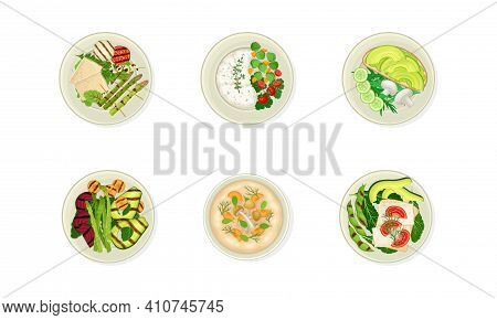 Vegan Dishes And Main Courses With Grilled Vegetable, Porridge And Soup Vector Set