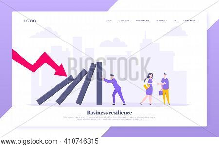 Business Resilience Or Domino Effect Metaphor Vector Illustration Website Concept. Adult Young Busin