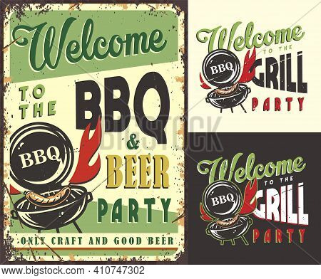 Set Of Poster Grill Sausage, Print With Barbeque