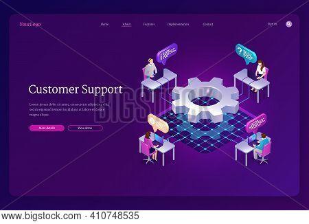 Customer Support Isometric Landing Page. Hotline Operators Help Line Service, Call Center Receptioni