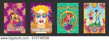 Hippie Peace And Love Posters, Woman Gesturing, Girl In Rainbow Glasses And Flower Wreath And Man Pl