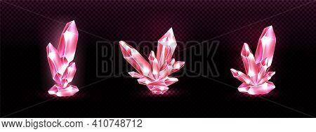 Crystal Clusters With Pink Glowing Light Aura, Quartz Or Crystalline Mineral. Unfaceted Rough Glowin