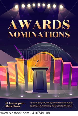 Award Nominations Cartoon Poster, Conference Hall, Stage For Presentation, Empty Scene Interior With