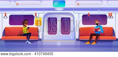 Subway Train Car With People In Masks. Woman With Phone And Man With Book In Metro Wagon. Vector Car