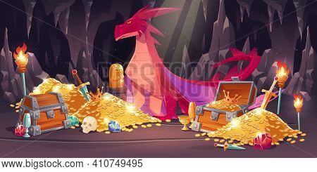 Cave With Red Dragon And Treasure, Piles Of Gold Coins, Jewelry And Gem. Vector Cartoon Illustration
