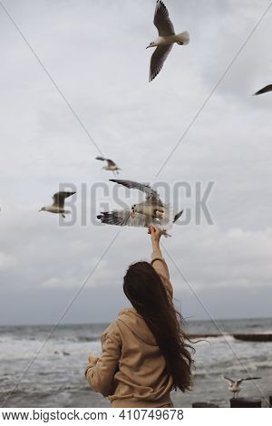 A Young Girl With Long Hair In A Brown Jacket Feeds Flying Seagulls Against The Background Of The Se