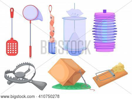 Wild Animals And Insects Traps Set. Metal Trap For Bear, Mousetrap, Net And Box Isolated On White. C