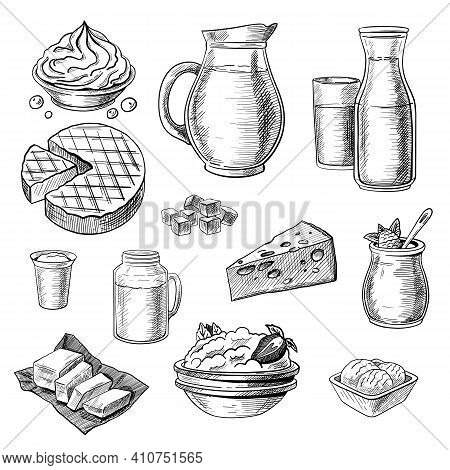 Dairy Products Sketches Set. Hand Drawn Jug Of Milk, Yogurt, Cottage Cheese, Ice Cream, Butter. Engr
