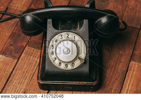 Retro Telephone Nostalgia Old Technology Communication Wooden Background