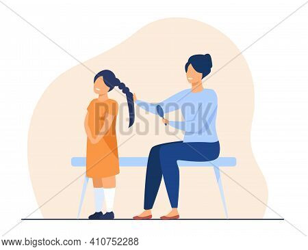 Happy Mother Making Hairstyle To Daughter. Hair, Hairdo, Comb Flat Vector Illustration. Motherhood A