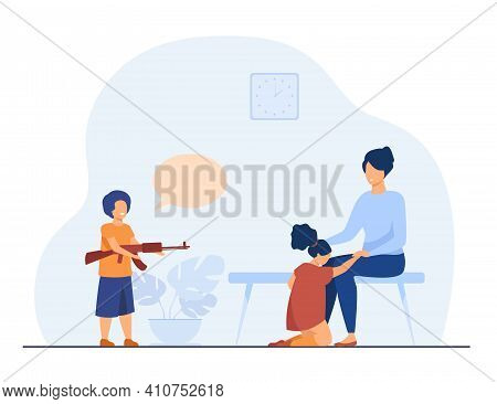 Mother Protecting Girl From Boy With Toy Gun. Weapon, Attack, Brother Flat Vector Illustration. Fami