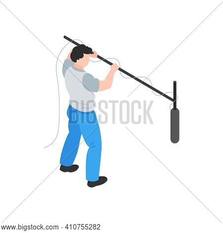 Isometric Cinematography Composition With Isolated Character Of Audio Engineer Recording Sound With