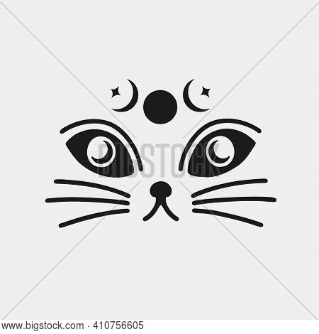 Cat Face Animal Witchcraft Moon Phases.silhouette Black Logo Isolated In White Background.whisker Cu