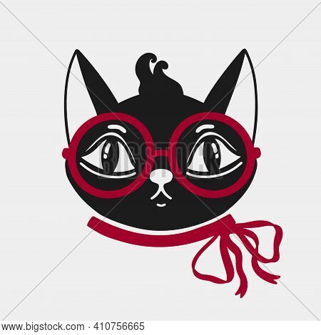 Cat Face With Glasses And A Bow Red On The Neck Animal.silhouette Black Logo Isolated In White Backg