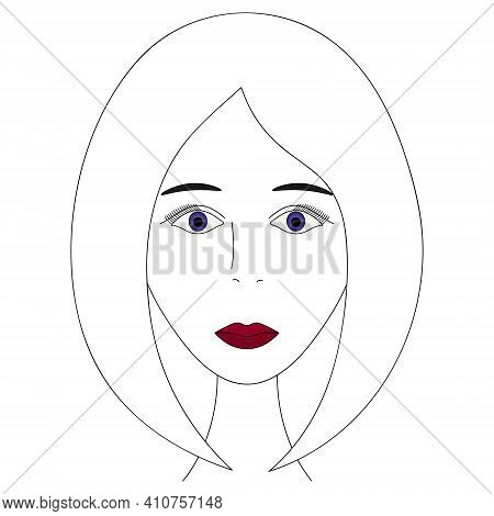 Womans Face. Sketch. The Girl Head Full Face. Vector Illustration. Classic Bob Hairstyle. Sweet Lady