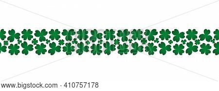 Clover. Green Plant. Seamless Horizontal Border. Trefoil And Four-leafed. Repeating Vector Pattern.