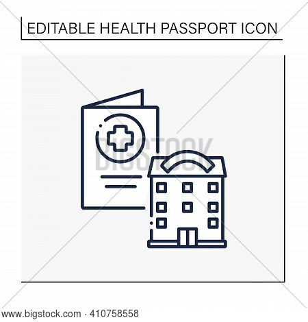 Health Passport Line Icon. Necessary Document About Health Status. Vaccinated Card. Necessarily In G