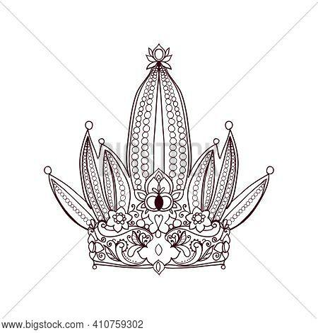 Fairy Tiara Silhouette Icon On White Background Vector Illustration