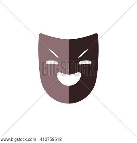 Flat Drama Mask Of Laughing Villain Vector Illustration