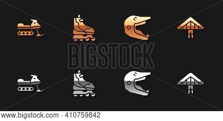 Set Snowmobile, Roller Skate, Motocross Motorcycle Helmet And Hang Glider Icon. Vector