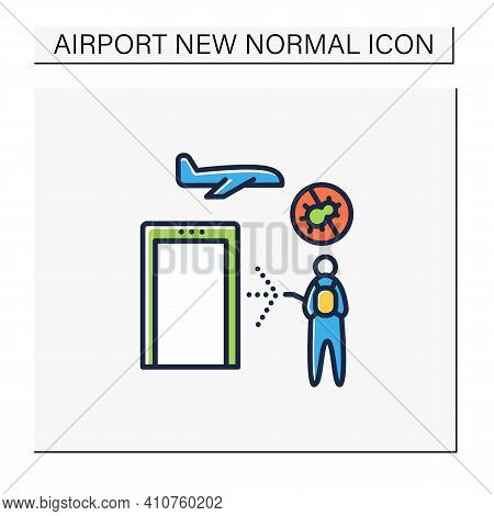 Sanitization Airport Color Icon. Disease Prevention. Biosafety Worker Disinfect Airport. Mandatory P