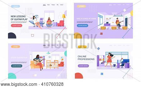 Set Of Illustrations With People Play Guitar At Home, Office, Hospital And School. Guitarists Compos