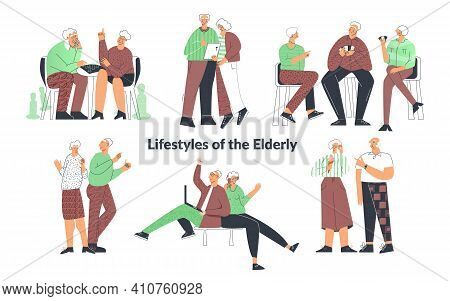 Elderly Senior People Lifestyle, Couple Playing Games, Friend Having Fun, Family Chatting On Compute