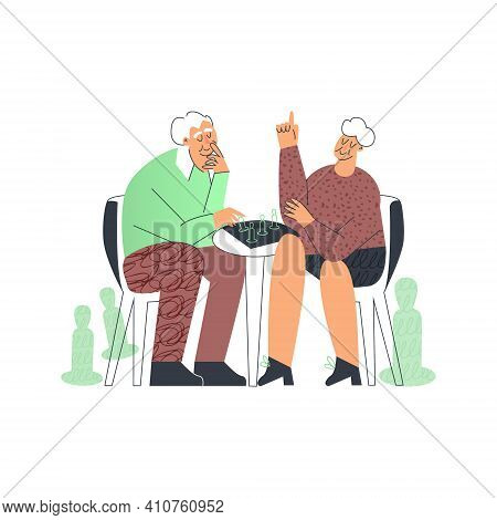 Senior Couple Playing Table Games, Elderly Friend Having Fun, Grandparents Family Leisure At Home. O