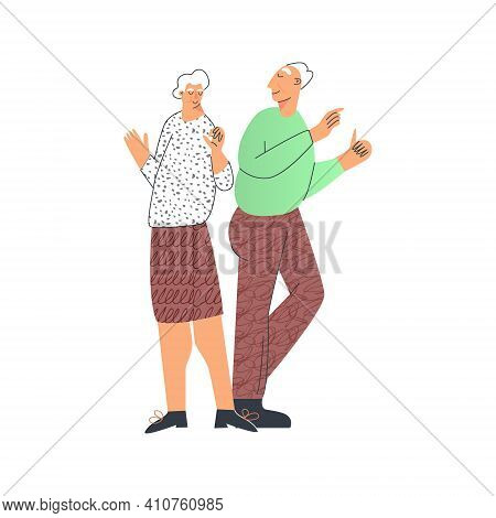 Senior People Lifestyle, Elderly Couple Dancing And Having Fun, Modern Pensioner Leisure. Old Lady A