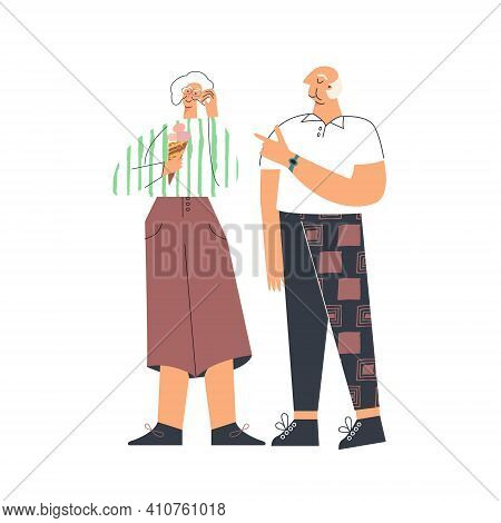 Senior People Lifestyle, Portrait Elderly Couple, Modern Pensioner Leisure. Old Lady And Gentlemen H