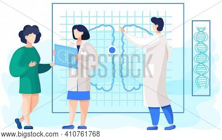 Medical Consultation And Support. Healthcare Services. Girl Communicates With Doctor In Hospital. Th