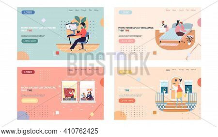 People Successfully Organizing Their Time Landing Page Template With Businesswoman At Workplace Work
