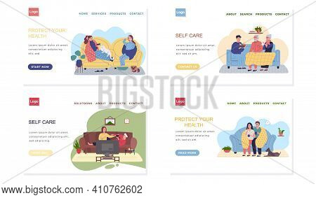 Set Of Illustrations About Self-medicating Websites In Quarantine. Effective Self Care And Protectio