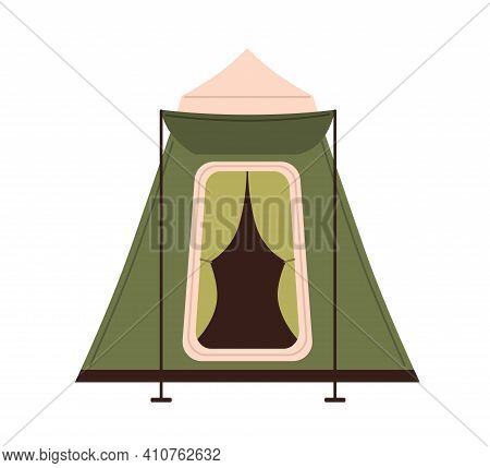 Pyramid Tent With Triangle Roof And Canopy Isolated On White Background. Canvas Shelter For Nature R