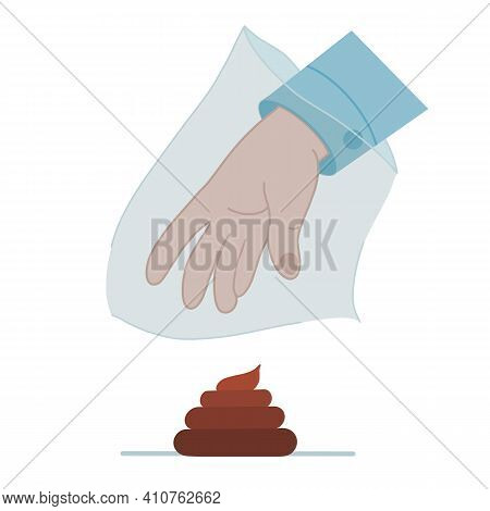 Clean Up After Your Dog. Vector Icon In Flat Style Put Animal Excrement In Bags