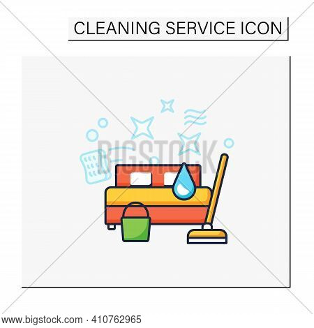 Bedroom Cleaning Color Icon. Home Cleanup. Bed Dry Cleanup. Mopping, Wiping, Dusting. Cleaning Servi