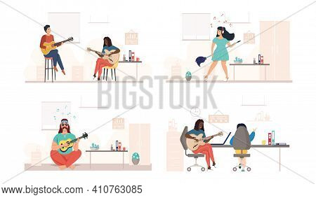 Characters Play Guitar. Set Of Illustrations With Performers Sing And Compose In Office. People With