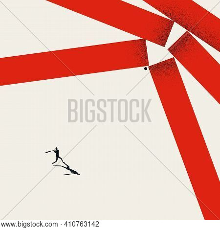 Break Barriers, Business Vector Concept. Man Hitting Walls With Baseball. Symbol Of Strength, Succes