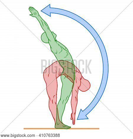 Illustration Of Human Body In Exercise Pose, Person Doing Physical Exercise, Person In Good Physical