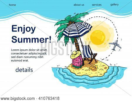 Bright Design Of Tourist Banner With Palm Tree, Sea, Sunbed, Backpack, Sun Umbrella, Airplane For Po