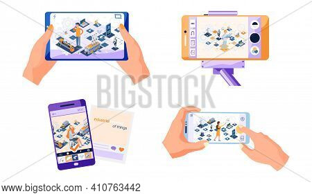 Human Hand Holding Smartphone Scenes Set With Site About Modern Means Of Technical Progress. Digital